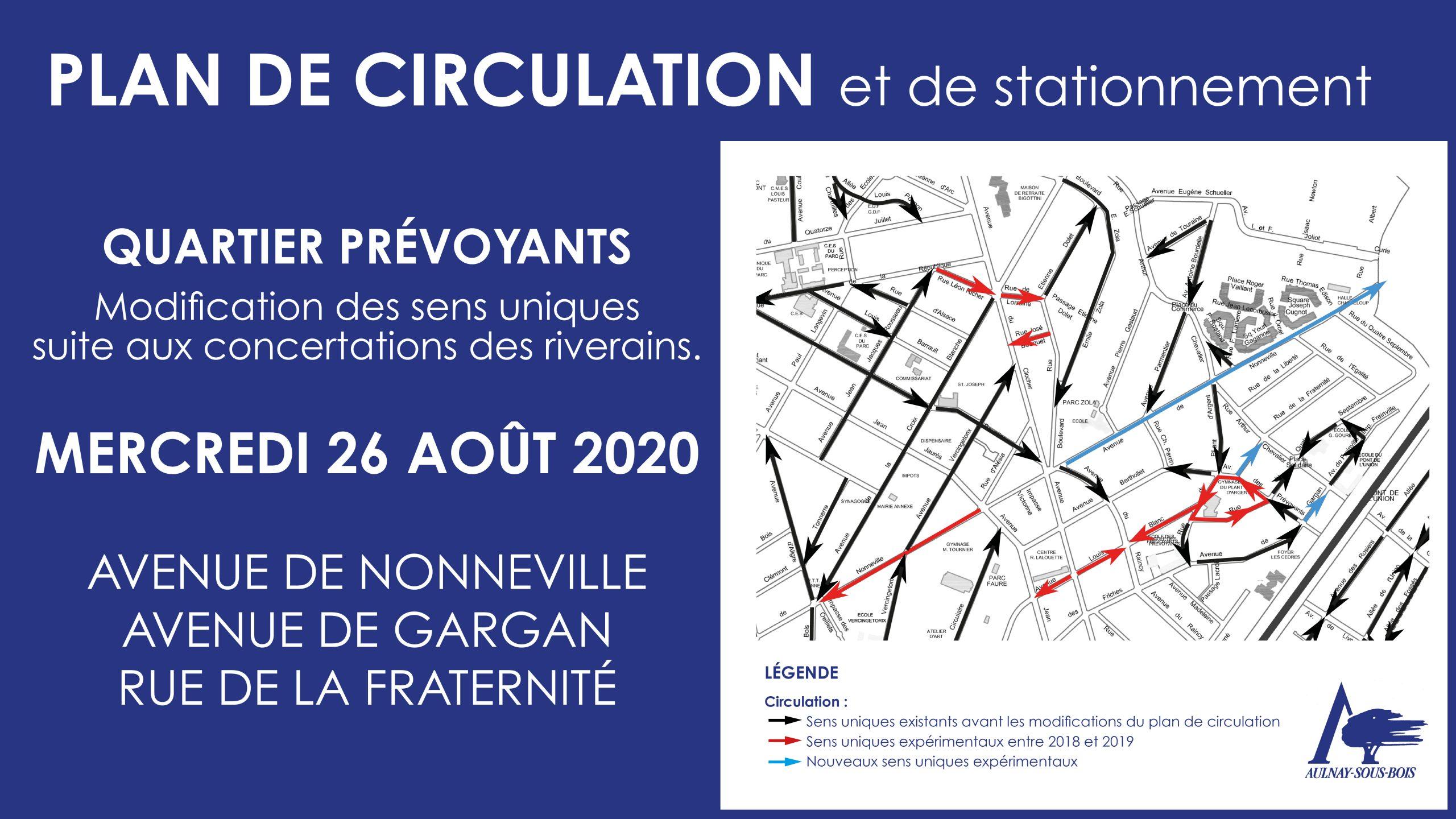 Plan de circulation et de stationnement du 26 août 2020